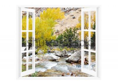 Fototapet Öppna fönster med vacker natur på en bakgrund