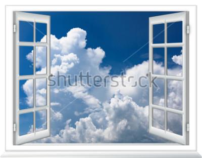 Fototapet öppna fönster utsikt över himlen med moln soluppgång