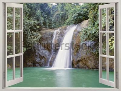 Fototapet Öppna fönsteröversikt till tropiskt vattenfall nära Vattenfallet, Iligan, Mindanao, Filippinerna