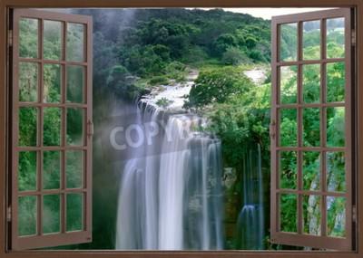 Fototapet Öppna fönstret till spektakulära Magwa Falls nära Mbotyi Cape Province Sydafrika