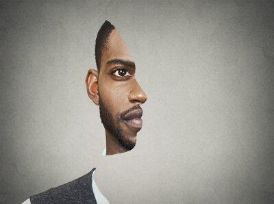 Fototapet Optisk illusion porträtt front med utskuren profil man