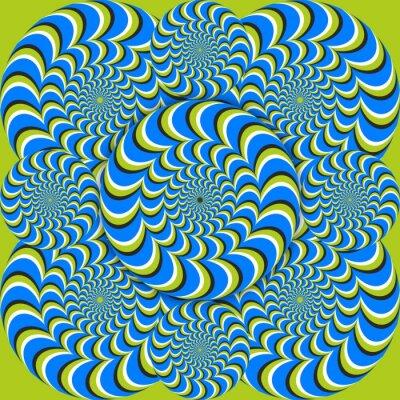 Fototapet optisk illusion våg cirklar