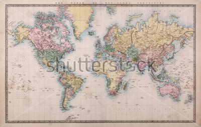 Fototapet Original gammal handfärgad karta över världen på Mercatorprojektion ca 1860, länderna heter som de var då, dvs Persien, Arabien etc. några spår som förväntat för en karta över 150 år gammal.