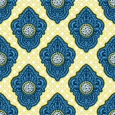 Fototapet Ornamental etnisk konst, mönstrad indisk, turkisk, arabisk, paisley. Handritad illustration. Tatuering, astrologi, alkemi, boho och magisk symbol. Original design i klotterstil.