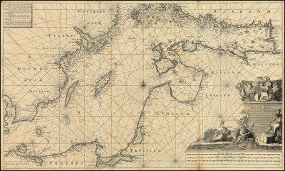 Fototapet Östersjön vintagekarta