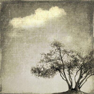 Fototapet Overkligt landskap med enstaka träd i sepiatoner
