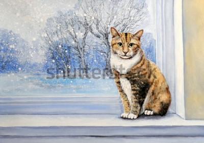 Fototapet Paintings, watercolor.Cat, window, winter, home, animal.