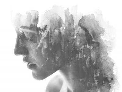 Fototapet Paintography. Double exposure. Close up of an attractive model combined with hand drawn ink and watercolor painting with overlapping brushstroke texture, black and white