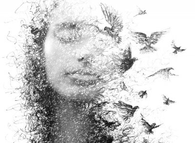 Fototapet Paintography. Double Exposure portrait of an elegant woman with closed eyes combined with hand made pencil drawing of a flock of birds flying freely resembling disintegrating particles of her being