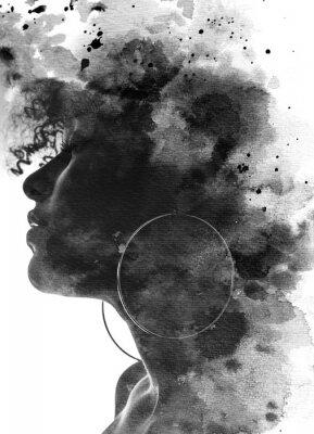 Fototapet Paintography portrait of a young woman