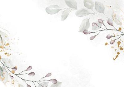 Fototapet Pale watercolor leaves on white background - vertical botanical design banner. Floral pastel watercolor, vintage style