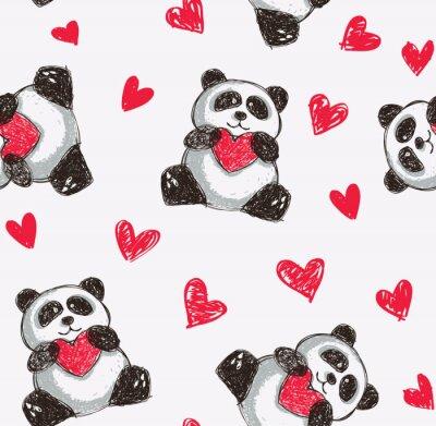 Fototapet panda håller hjärta sömlös bakgrund