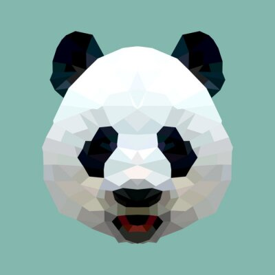 Fototapet panda huvudet polygon isolerade vektor