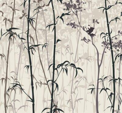 Fototapet Panda i bambuskog