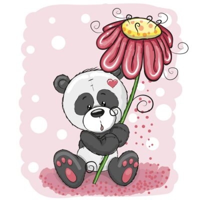 Fototapet Panda med blomma