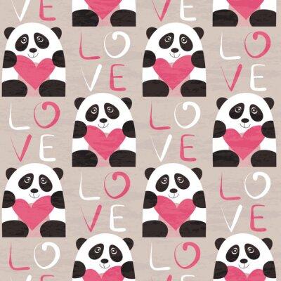 Fototapet Panda med hjärta seamless