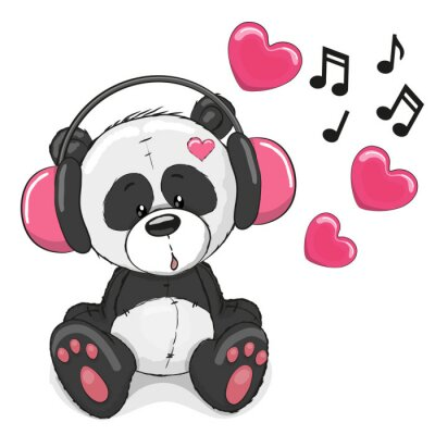 Fototapet Panda med hörlurar