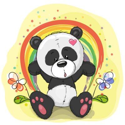 Fototapet Panda med regnbåge
