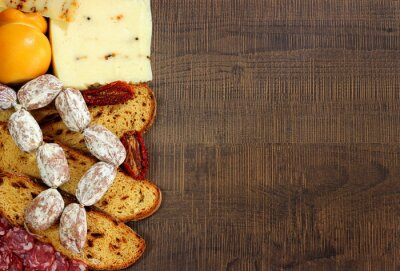 Fototapet Pane, salumi e formaggi