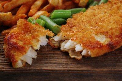 Fototapet Panerad stekt fiskfilé och potatis med sparris