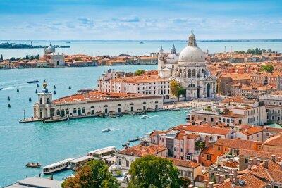 Fototapet Panorama antenn stadsbild i Venedig med Santa Maria della Salute kyrka, Veneto, Italien