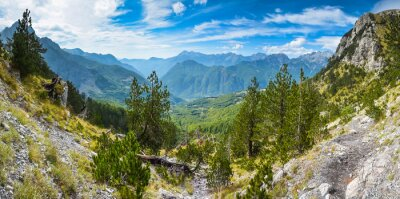 Fototapet Panorama av berg i norra Albanien