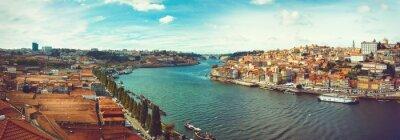 Fototapet Panorama av Douro i Porto.