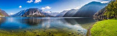 Fototapet Panorama av kristallklar fjällsjö i Alperna