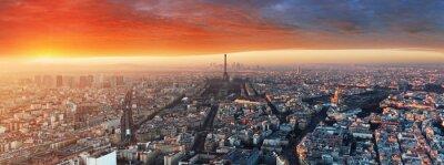 Fototapet Panorama över Paris på solnedgången, stadsbild