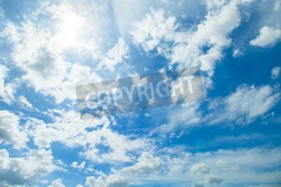 Fototapet Panoramabild av blå himmel och moln i bra väder dagar