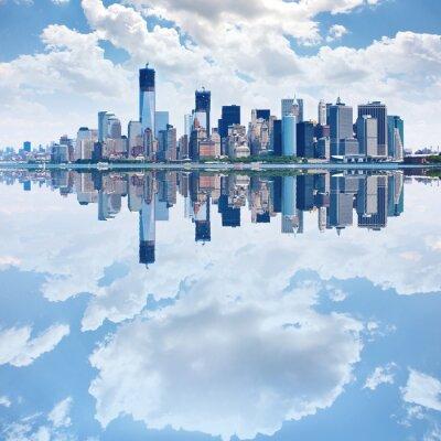 Fototapet Panoramabild av nedre Manhattan skyline