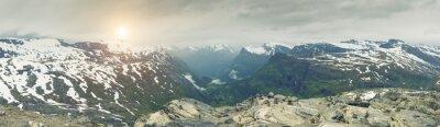 Fototapet Panoramautsikt över Norge fjällmiljö