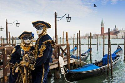 Fototapet Par Karnevalmaskerings i Venedig.