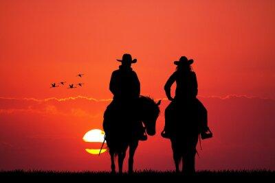 Fototapet par på häst silhuett