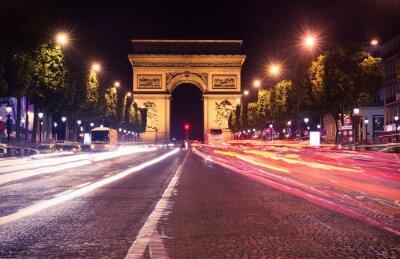 Fototapet Paris, Champs-Elysees på natten