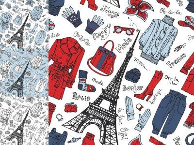 Fototapet Paris Fashion.Clothing seamless set.Tricolor klotter