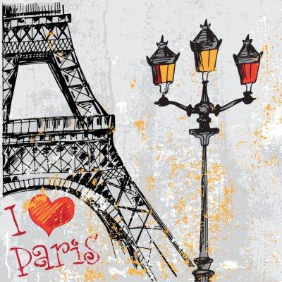 Fototapet Paris grunge bakgrund med Eiffeltornet