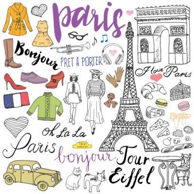 Fototapet Paris klotter element. Handritad in med Eiffeltornet uppfödda café, taxi Triumf bågen, mode element, katt och fransk bulldog. Ritning klotter insamling och bokstäver, isolerad på vitt