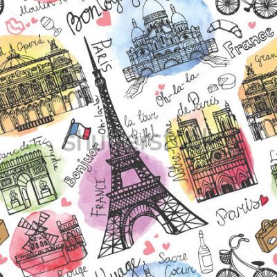 Fototapet Paris landmärke, bokstäver sömlösa mönster. Vattenfärg stein. Vintage doodle.In franska god resa, hej, Notre Dame, Eiffeltornet, Sacre Coeur, Grand Opera, Triumfbågen, Moulin Rouge. Vektor
