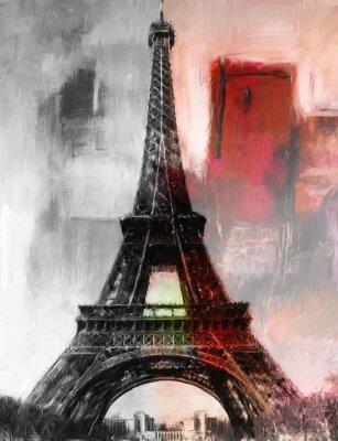 Fototapet Paris Målning Eiffeltornet Eiffeltornet Bild konstoljamålning