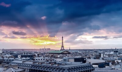 Fototapet Paris skyline. Arkitektoniska stads detalj