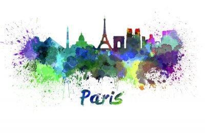 Fototapet Paris skyline i vattenfärg