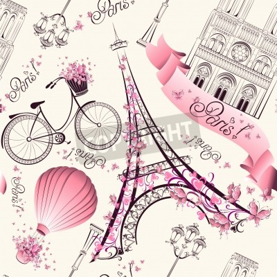 Fototapet Paris symboler seamless. Romantisk resa i Paris. Vektor