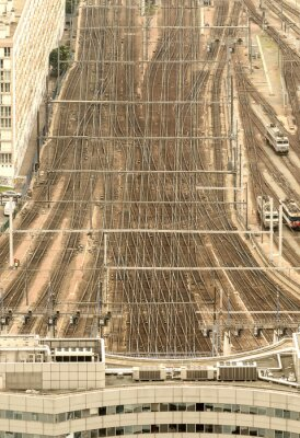 Fototapet Paris tågstationen, Frankrike. Flygperspektiv