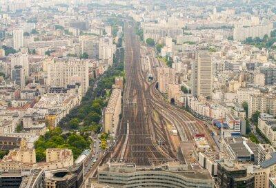 Fototapet Paris tågstationen sett från hög utsiktspunkt