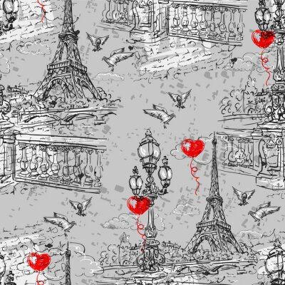 Fototapet Paris. Vintage seamless 3
