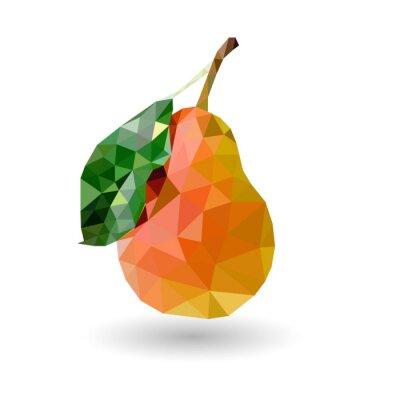 Fototapet Päron trianglar päron med en röd sida och ett blad av triangeln på en vit bakgrund med skugga