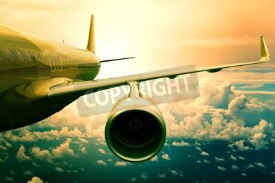 Fototapet passagerar jetplan flyin ovan moln scape användning för flygplan transport och resande affärsmässig bakgrund