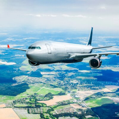 Fototapet Passagerarflygplan på himlen