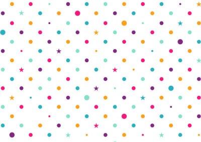 Fototapet Pastell färgglada prickar vit bakgrund Vector Illustration